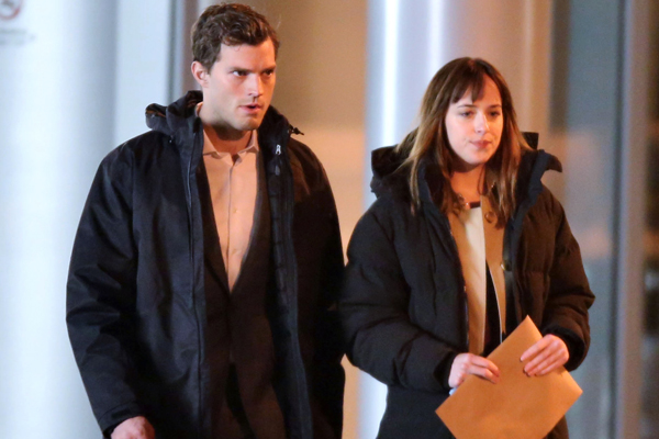 Jamie Dornan & Dakota Johnson Film A Night Scene On The Set Of 'Fifty Shades Of Grey'