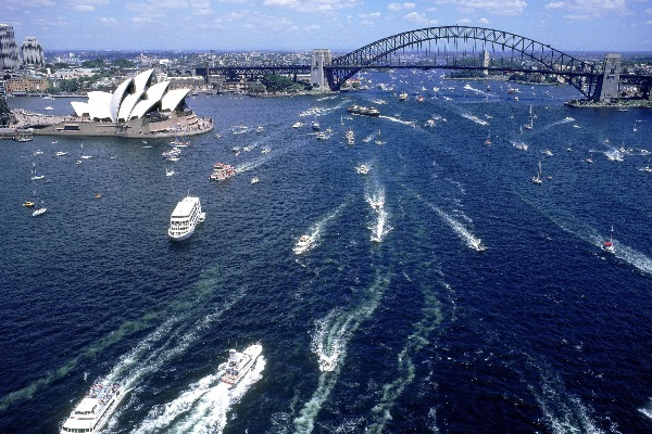 aerial view of boats on harbour for australia day 1999, sydney, nsw