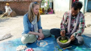 Alexandra Cousteau and  farmer Ter Singh making organic pesticide _ 2015